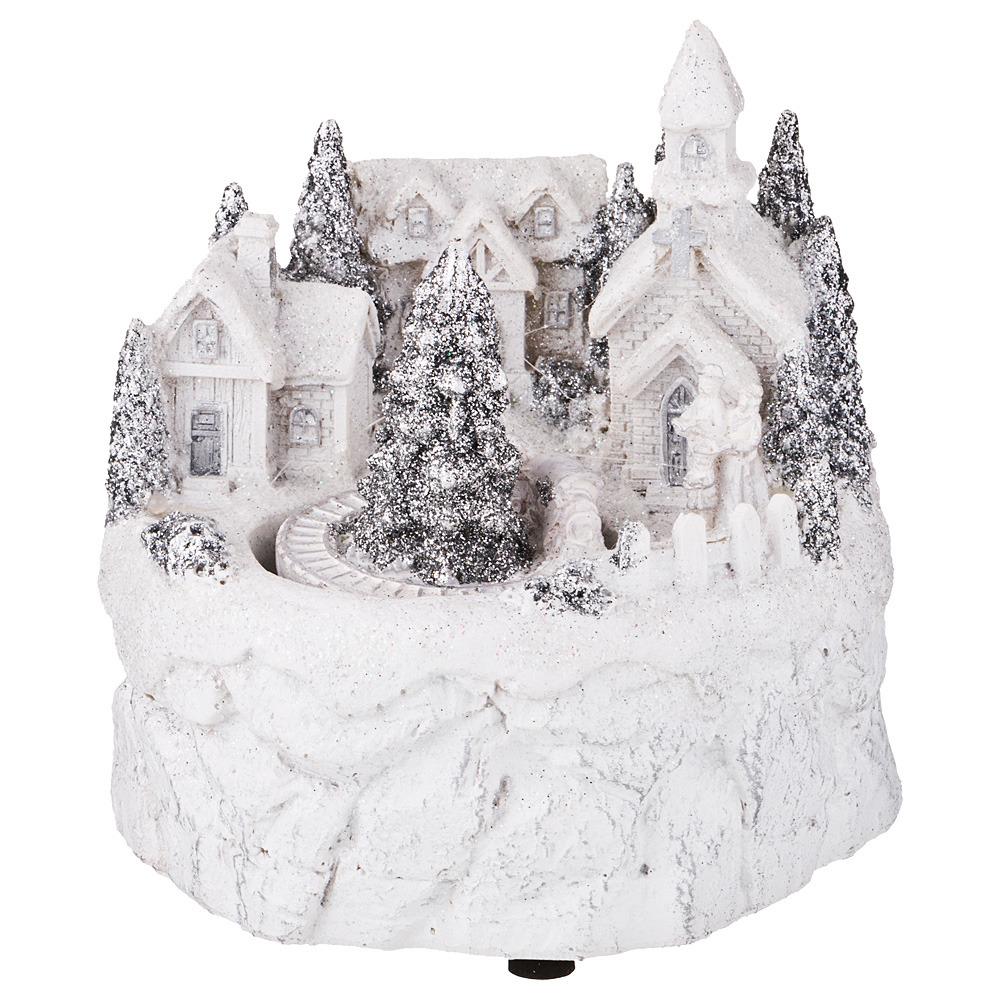 Фигурка декоративная Lefard Рождественский домик с музыкой, вращением и подсветкой, 868-109, белый, 12 х 12 х 12.5 см868-109