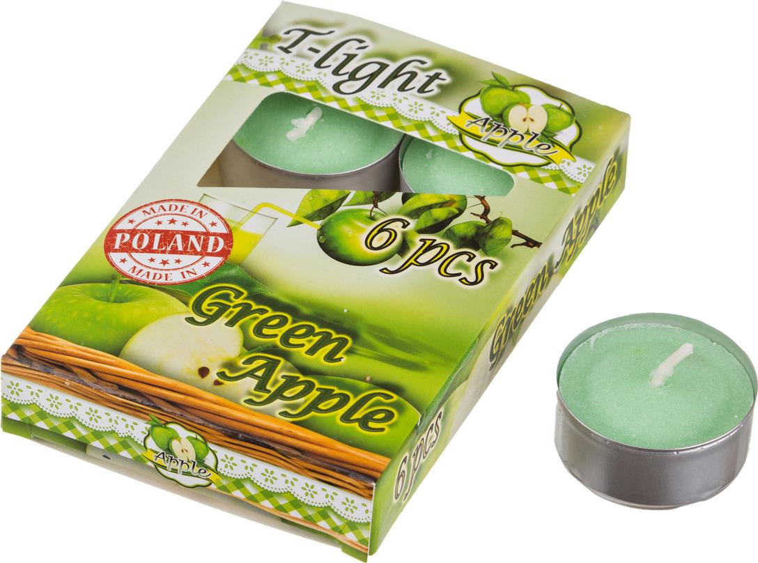 Набор плавающих свечей Lefard Зеленое яблоко, 348-478, белый, с подставкой, 4 х 2 см, 6 шт набор свечей lefard 348 622 фиолетовый 2 2 х 27 см 4 шт