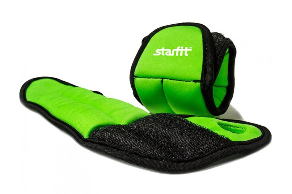 Утяжелители Starfit WT-201 для рук 1 кг зеленый starfit утяжелители star fit wt 201 для рук эргономичные 0 5 кг зеленый черный