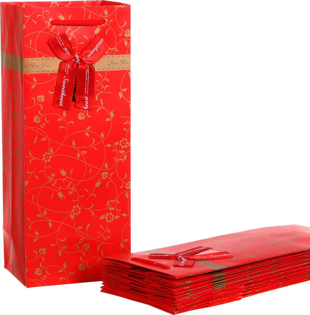 Пакеты бумажные Lefard, 521-071, красный, 15 х 12 х 36 см, 10 шт