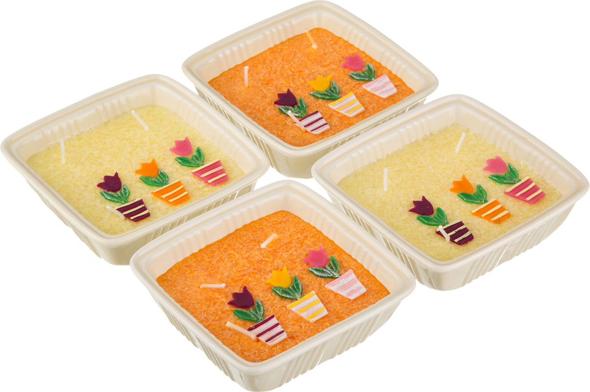 Набор свечей Lefard Тюльпаны, 348-510, желтый, оранжевый, 11 х 4 см, 4 шт цена