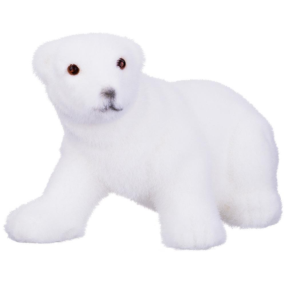 Фигурка декоративная Lefard Медведь белый велюр, 866-108, белый, 18 х 10 х 11 см866-108