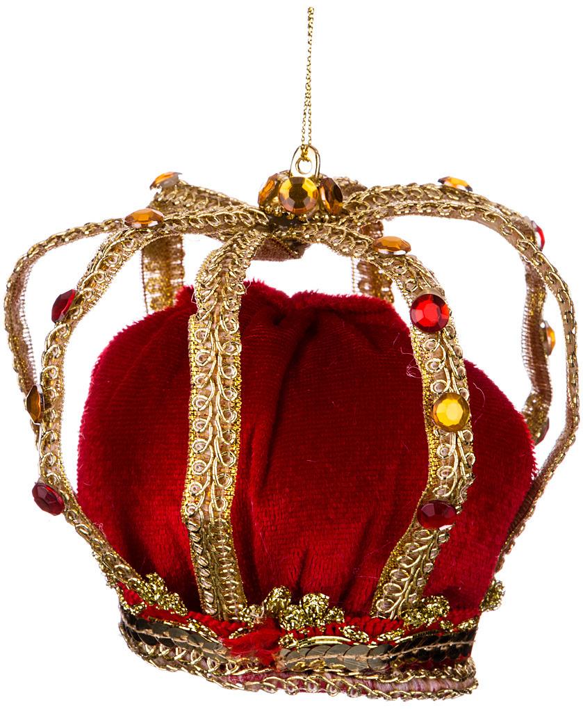 Украшение для интерьера Lefard Корона, 856-028, золотистый, красный, 10 см украшение для интерьера lefard телефонная будка с дедом морозом 865 395 красный 10 х 10 х 25 см