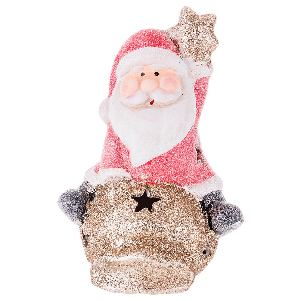Фигурка декоративная Lefard Дед Мороз, 100-488, белый, красный, 16 х 11 х 8 см фигурка декоративная lefard девочка 100 501 белый красный 19 х 7 х 5 см