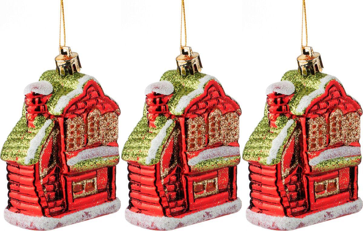 Фото - Набор украшений для интерьера Lefard Домики, 858-040, золотистый, красный, 10 см, 3 шт набор новогодних украшений 1 м 3 шт красный