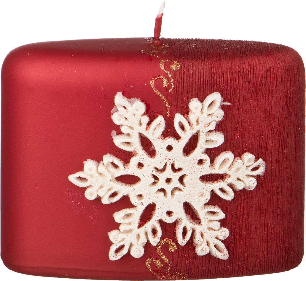 Свеча праздничная Lefard Снежинка, 348-590, красный, 9 х 12 х 6 см свеча декоративная win max каллы цвет кремовый 6 см х 6 см х 10 см