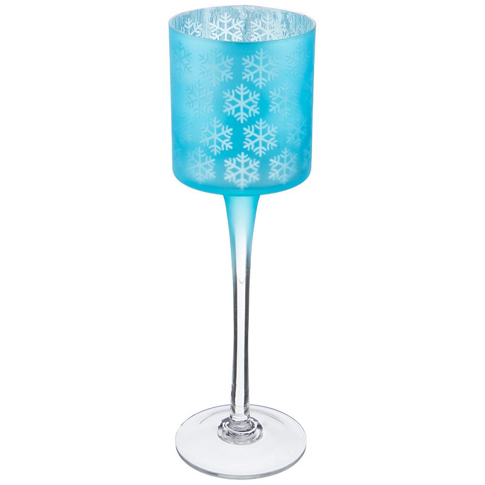 Подсвечник Lefard, 421-181, голубой, 9 х 30 см подсвечник снеговик 9 5 6 9 5см