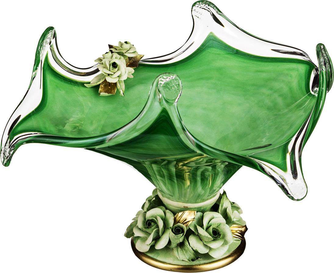 Декоративная чаша Lefard, 647-656, зеленый, 38 х 38 х 22 см настольный декор ананас зеленый 12 х 12 х 22 см