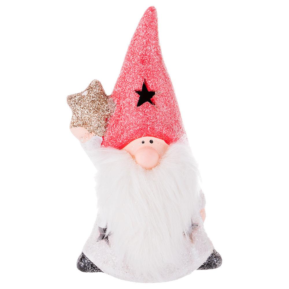 Фигурка декоративная Lefard Дед Мороз, 100-495, белый, красный, 18 х 10 х 7 см фигурка декоративная lefard девочка 100 501 белый красный 19 х 7 х 5 см