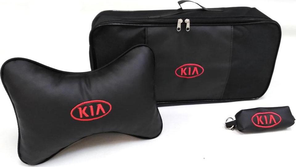 Подарочный набор автомобилисту Auto Premium Kia, сумка для набора ТО + ключница + подушка на подголовник, 67844 Auto Premium