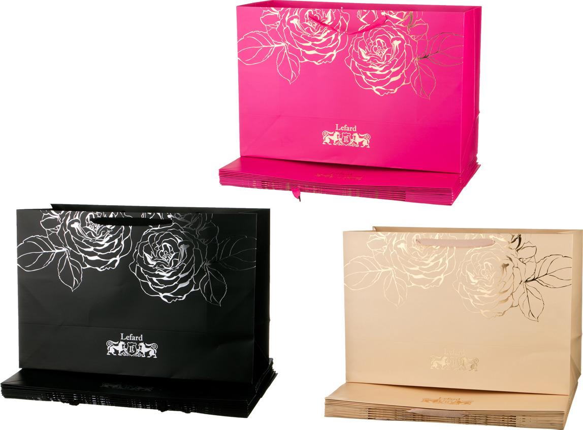Пакеты бумажные Lefard, 521-149, 60 х 40 х 23 см, 10 шт, 3 цвета, в ассортименте
