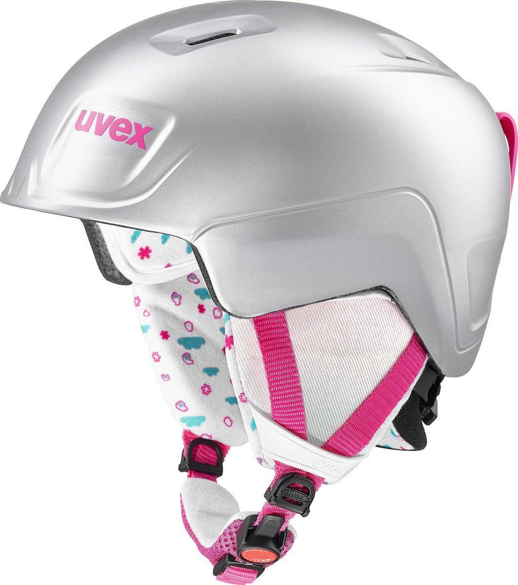 Шлем горнолыжный для девочки Uvex Manic Pro Kid's Helmet, 6224-59, серый, розовый. Размер 46/50 шлем горнолыжный salomon helmet brigade audio grey forest gr размер l 58 59