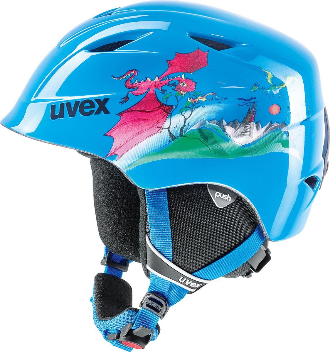 Шлем горнолыжный для мальчика Uvex Airwing 2 Kid's Helmet, 6132-46, синий. Размер XXS шлем горнолыжный для мальчика uvex airwing 2 kid s helmet 6132 46 синий размер xxs