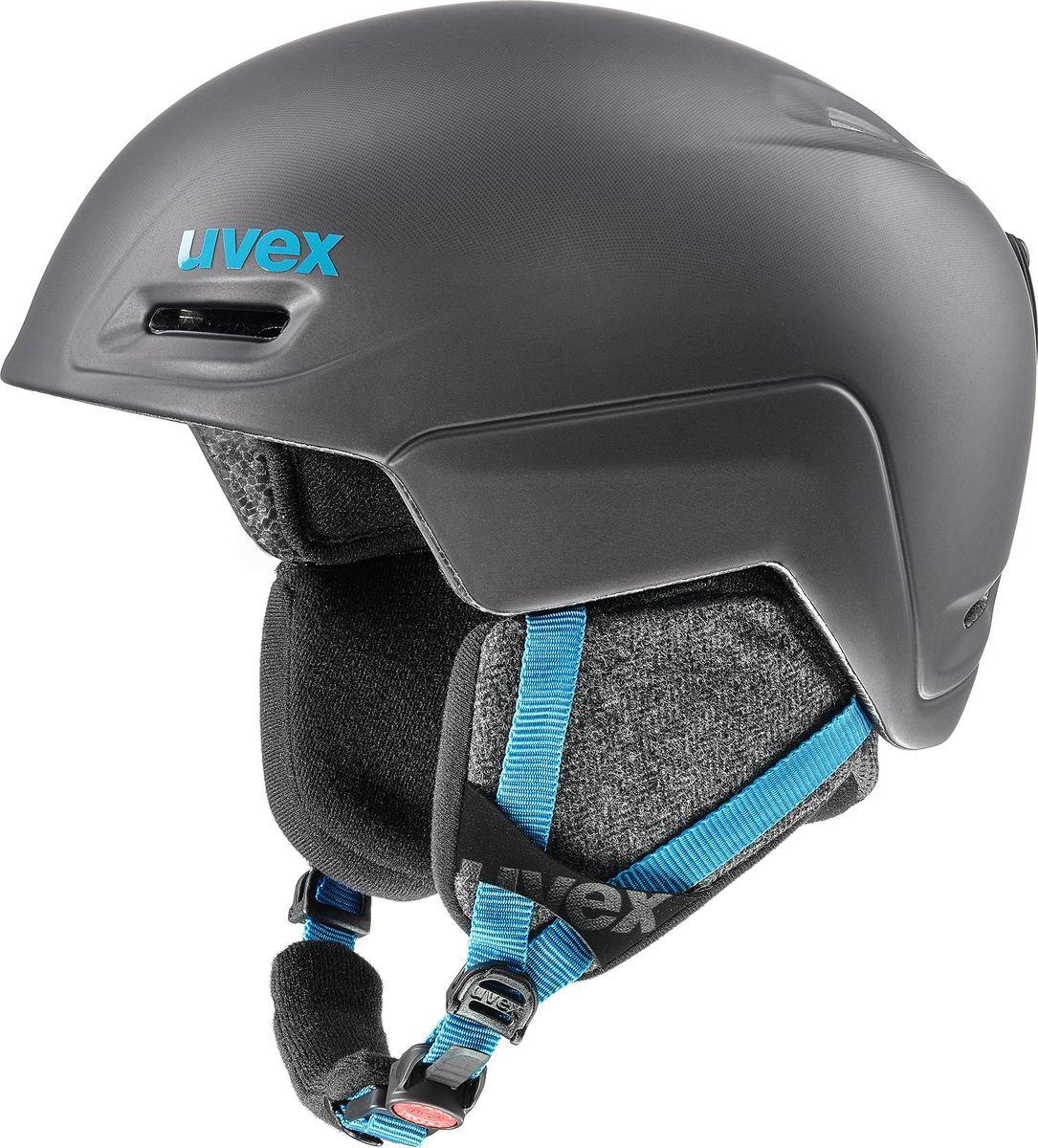 Шлем горнолыжный мужской Uvex Jimm Helmet, 6206-54, черный, синий. Размер M шлем горнолыжный для мальчика uvex airwing 2 kid s helmet 6132 46 синий размер xxs