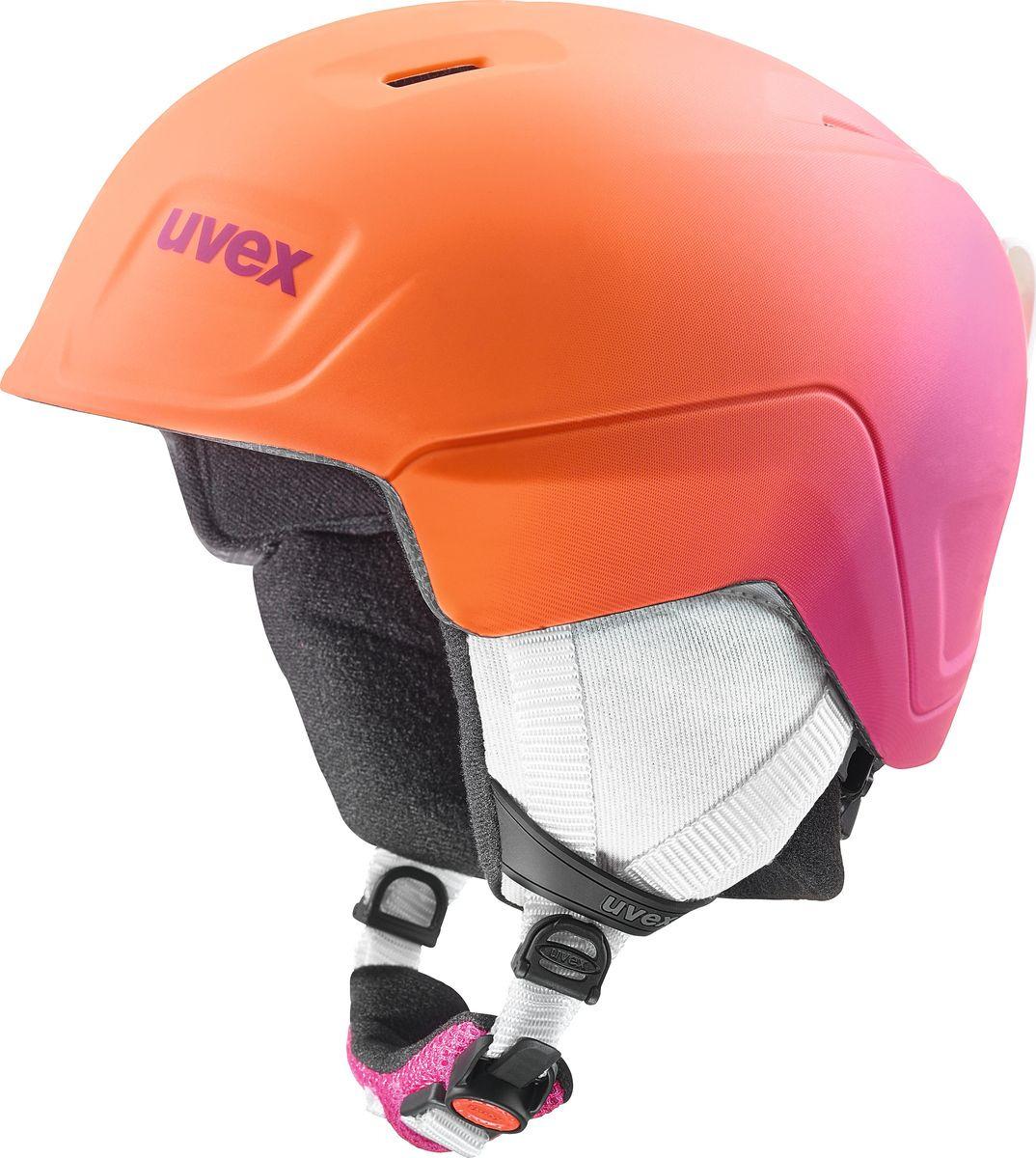 Шлем горнолыжный для девочки Uvex Manic Pro Kid's Helmet, 6224-98, розовый, оранжевый. Размер 46/50 шлем горнолыжный для мальчика uvex airwing 2 kid s helmet 6132 46 синий размер xxs