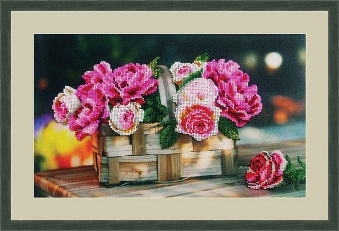 Набор для вышивания Galla Collection Набор для вышивания бисером «Розы в корзинке», 39х24 см, Л333 все цены