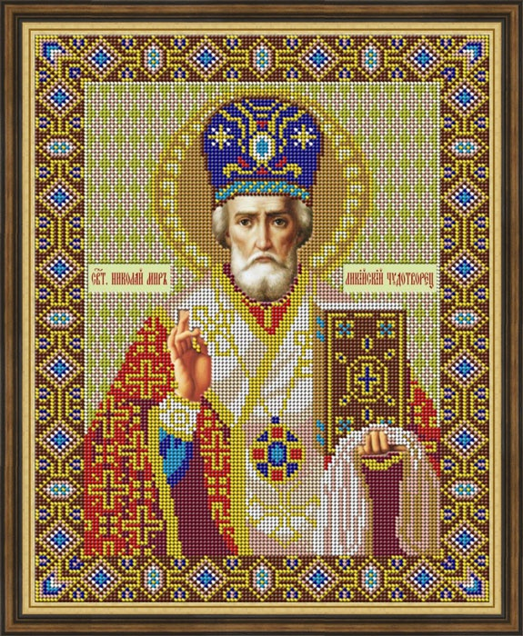 Набор для вышивания Galla Collection Набор для вышивания бисером «Икона «Николай Чудотворец», 26 х 32 см все цены