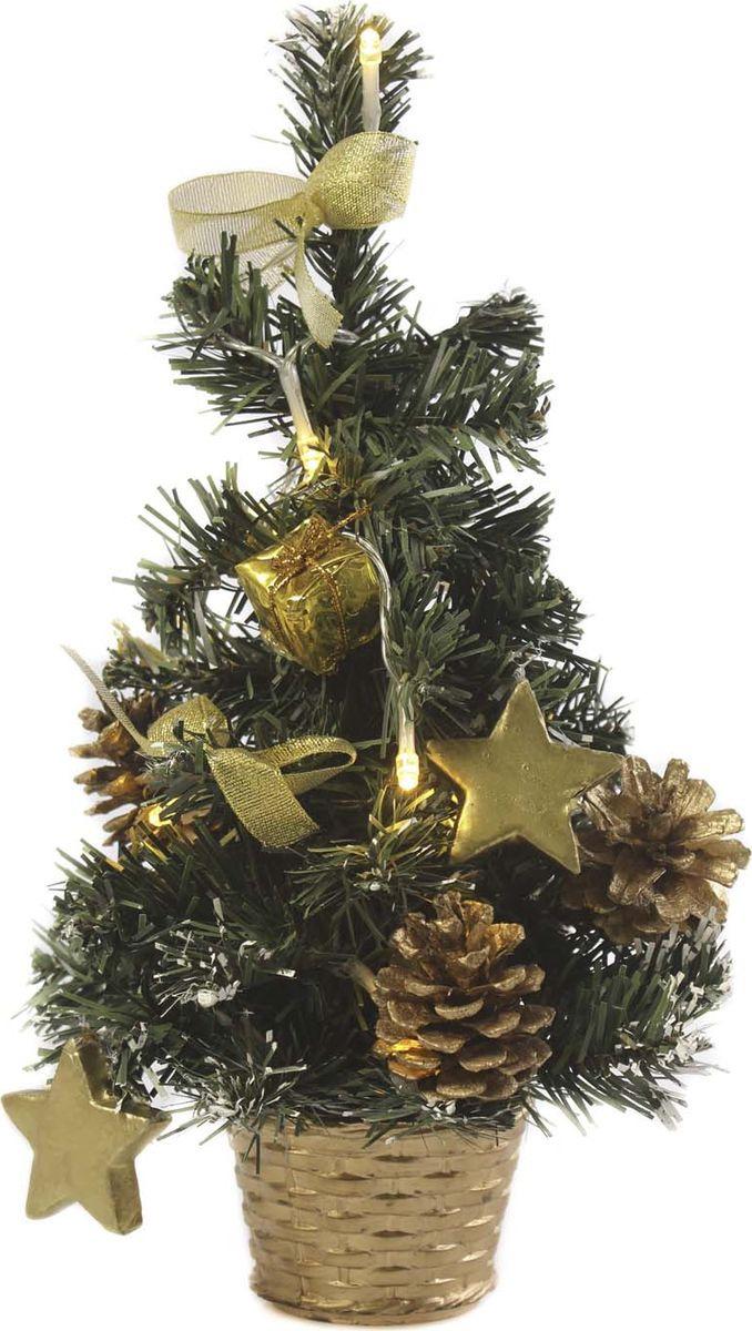 Елка настольная Vittorio Richi, с игрушками и гирляндой, 19k10lamp5430, зеленый, золотой, 30 см елка искусственная наряженная
