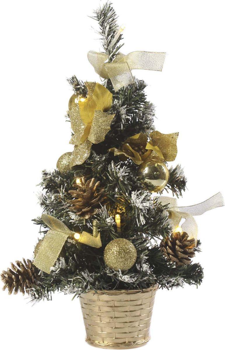 Елка настольная Vittorio Richi, с игрушками и гирляндой, 19k10lamp0840, зеленый, золотой, 40 см елка искусственная наряженная
