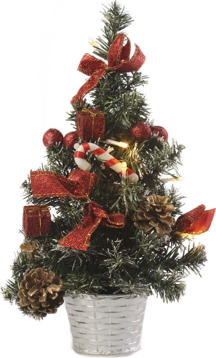 Елка настольная Vittorio Richi, с игрушками и гирляндой, 19k10lamp6240, зеленый, красный, 40 см елка искусственная наряженная