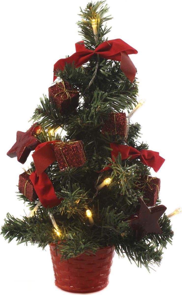Елка настольная Vittorio Richi, с игрушками и гирляндой, 19k10lamp3130, зеленый, красный, 30 см елка настольная c игрушками и гирляндой vita pelle 30 см k11el1806