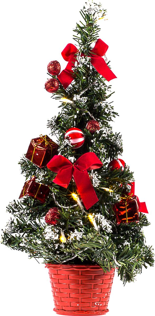 Елка настольная Vittorio Richi, с игрушками и гирляндой, FL1118K11EL2017, зеленый, красный, 40 см елка искусственная наряженная