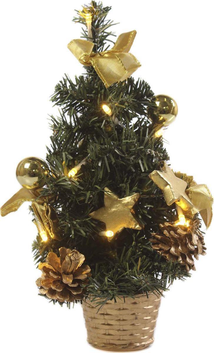 Елка настольная Vittorio Richi, с игрушками и гирляндой, 19k10lamp4630, зеленый, золотой, 30 см елка искусственная наряженная