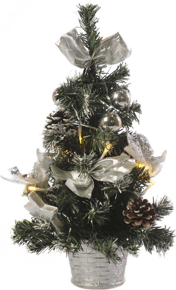 Елка настольная Vittorio Richi, с игрушками и гирляндой, 19k10lamp1340, зеленый, серебряный, 40 см елка искусственная наряженная