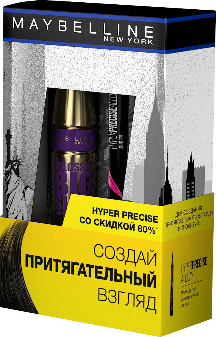 Подарочный набор Maybelline New York Тушь для ресниц The Colossal Big Shot, черная, 9,5 мл + Лайнер для глаз Hyper Precise, черный, 1,1 мл