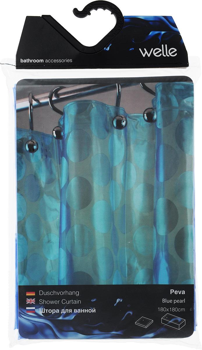 цена на Штора для ванной Welle Blue Pearl, цвет: синий, 180 x 180 см