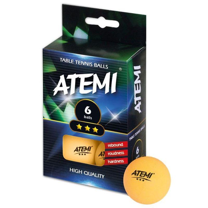 Шарики для пинг-понга Atemi 3*оранж, оранжевый, 6 цена