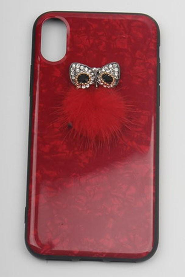 Чехол Semolina, для телефона iPhone X, с мехом, 4605180030265, красный