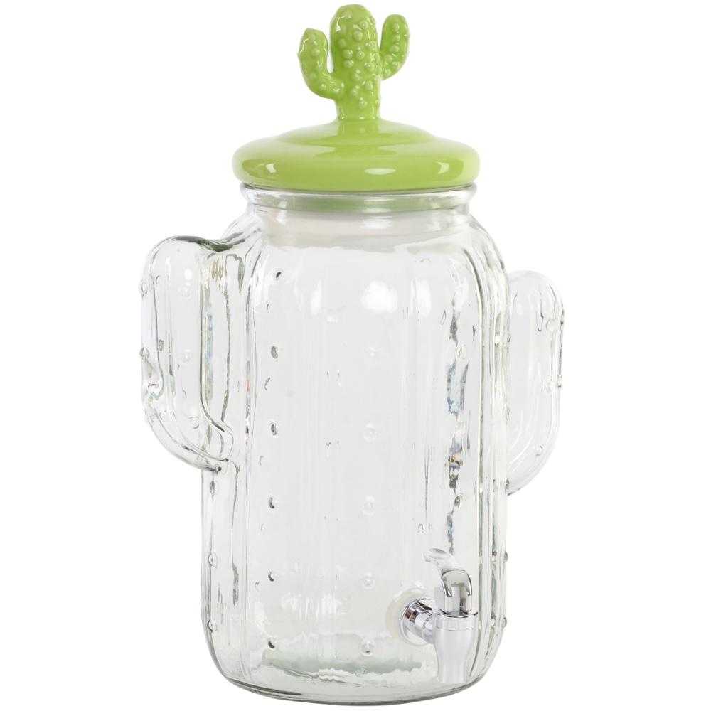 """Емкость для напитков Rich Line Home Decor """"Кактус"""" SM-150729, с краном, прозрачный, зеленый, 5 л"""