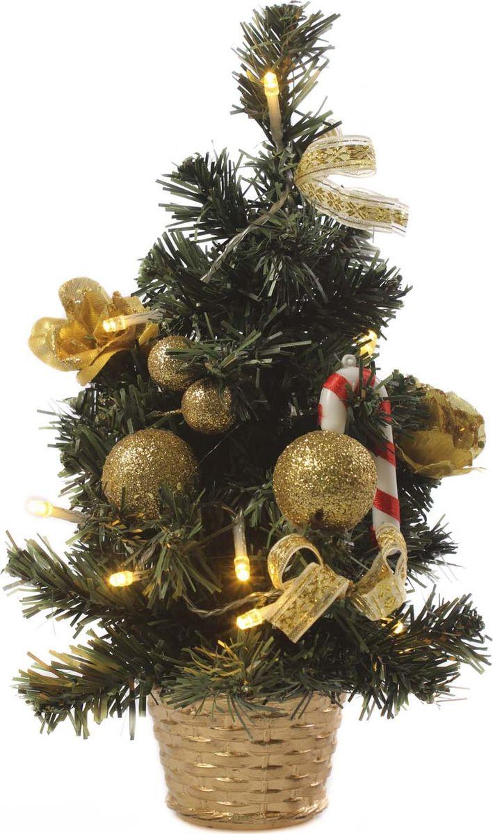 Елка настольная Vittorio Richi, с игрушками и гирляндой, 19k10lamp1130, зеленый, золотой, 30 см елка искусственная наряженная