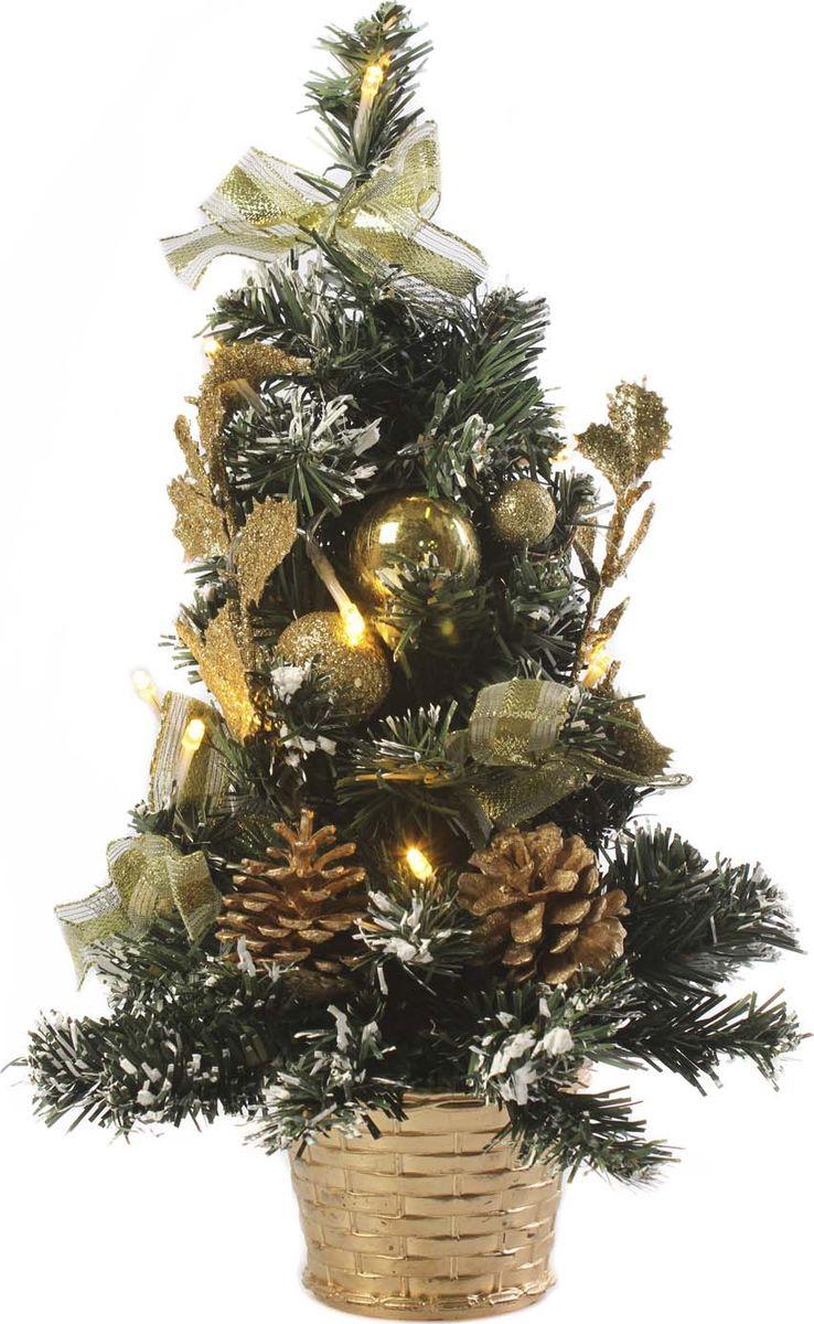 Елка настольная Vittorio Richi, с игрушками и гирляндой, 19k10lamp1640, зеленый, золотой, 40 см елка искусственная наряженная