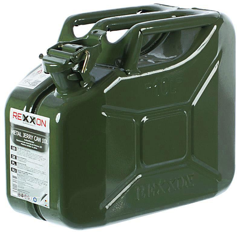 Канистра REXXON, с разрешением для бензина, металлическая, 10 л для автомобиля требуется 9 литров бензина на 100 км пути