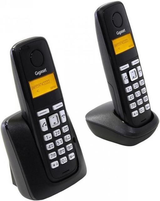 Радиотелефон Gigaset Gigaset A220 DUO RUS, L36852-H2411-S301, черный радиотелефон siemens gigaset a120 duo черный l36852 h2401 s301