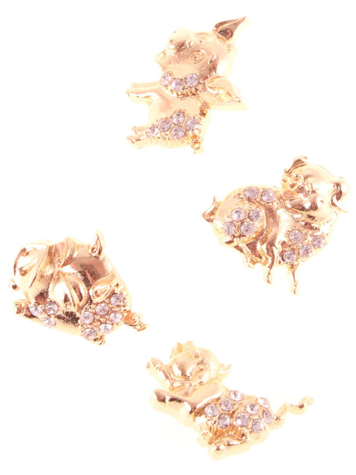 Брошь Hello Trendy, 7426936729144, золотой, 4 шт trendy round neck cut out 1 2 sleeve wrap romper for women
