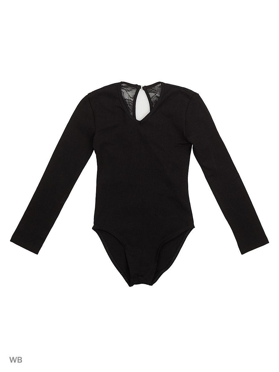 Купальник гимнастический для девочки Chersa, 7954, цвет: черный. Размер 110/1167954_черныйКупальник гимнастический из хлопка с эластаном. Спинка декорирована гипюром, застежка-капелька.
