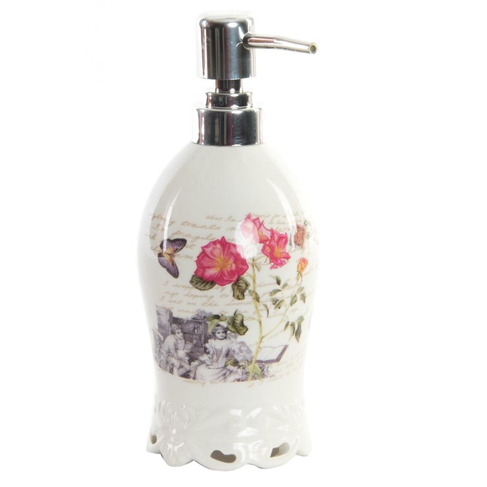 "Диспенсер для мыла RICH LINE Home Decor ""Цветы"", PB-140646, белый"
