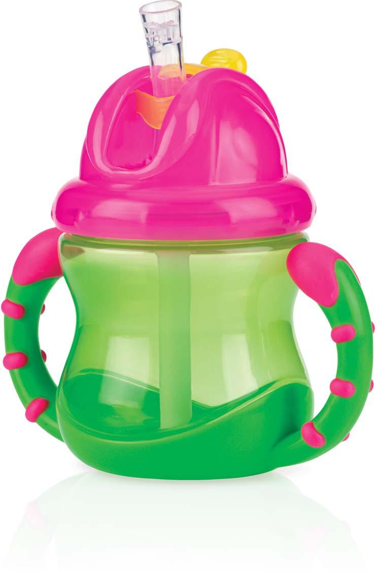 NUBY Поильник с силиконовым носиком-непроливайкой и съемными ручками, 240 мл, цвет: зеленый. ID9845 цена