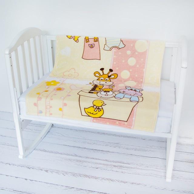 "Плед Baby Nice Micro Flannel ""Купание"", Y21264/5RO, розовый, бежевый, 100 х 118 см"