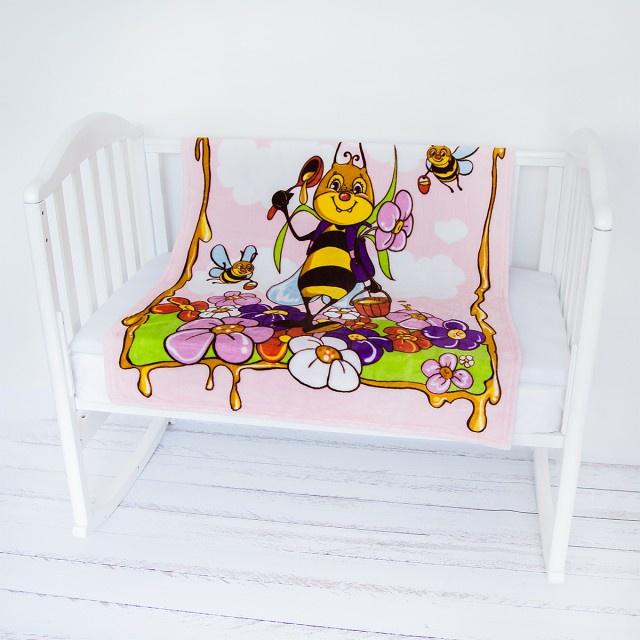 """Плед Baby Nice Micro Flannel """"Пчелка"""", Y21264/6RO, розовый, 100 х 118 см"""
