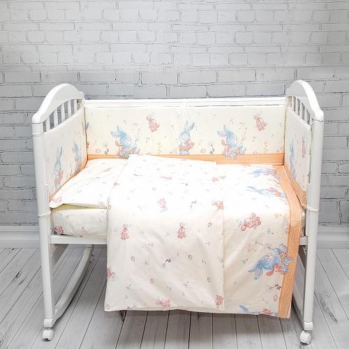 Комплект постельного белья Baby Nice «Зайчики», C121/14BE, бежевый, наволочка 40 х 60 см комплект постельного белья детский baby nice луны звездочки цвет салатовый