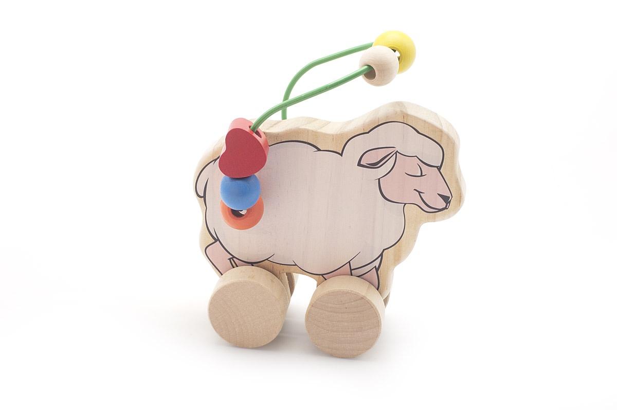 Игрушка-серпантинка, каталка МДИ Овца, Д366 деревянный лабиринт мди буренка д384