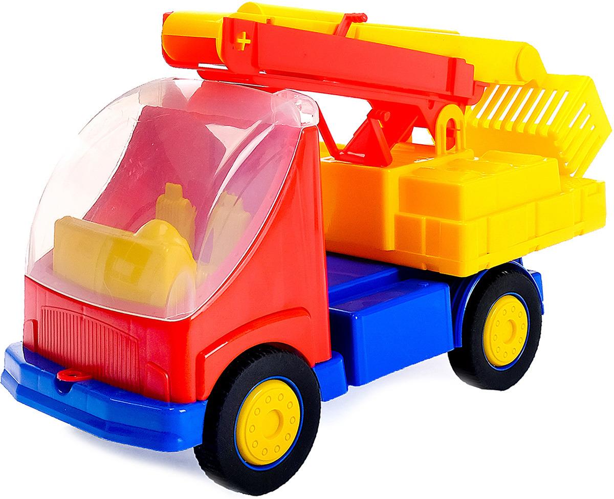 Машинка Автовышка, 32728123272812Крепкий качественный пластик без фенолов и токсинов. Внешний вид - с глянцем, который придает игрушке достойный вид (долго не тускнеет!) Надежное крепление колес на металлических осях.