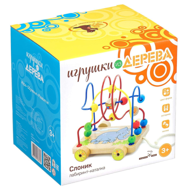 Игрушка развивающая МДИ лабиринт-каталка Слоник Д036, разноцветный