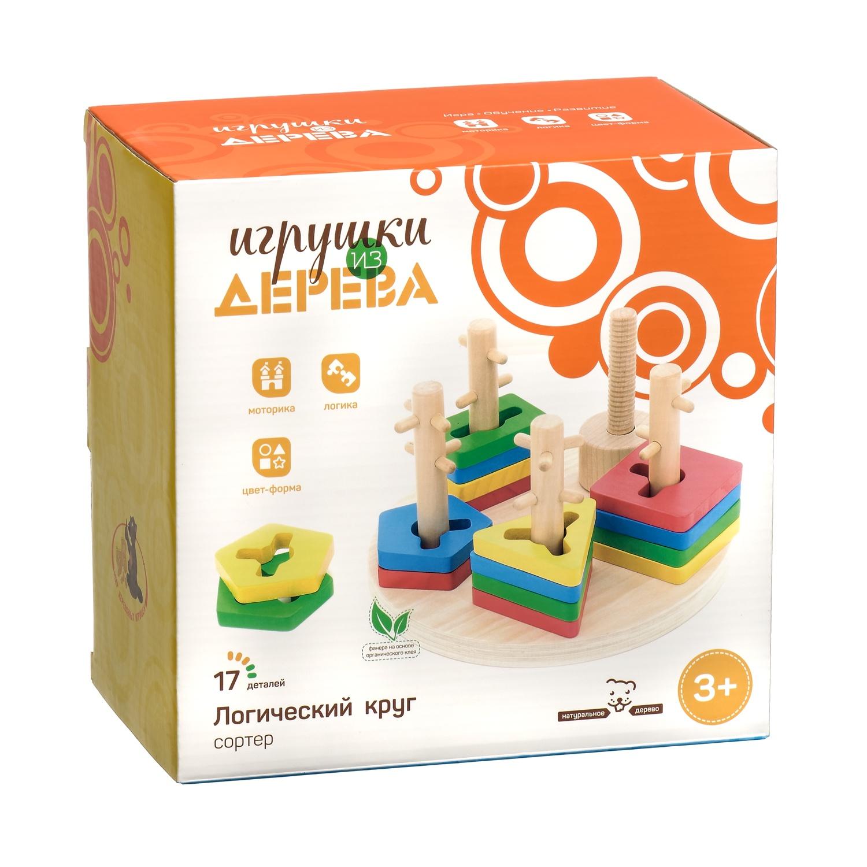 Игрушка развивающая МДИ Логический круг Д019, разноцветный игрушка развивающая логический квадрат артикул д020
