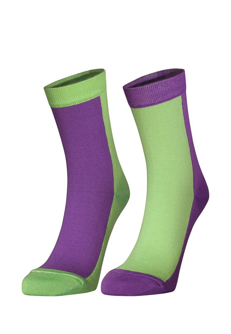 Комплект носков Big Bang Socks, салатовый, фиолетовый 40, 41, 42, 43, 44 размерd4613Комплект ярких носков с несимметричным принтом, 2 пары.