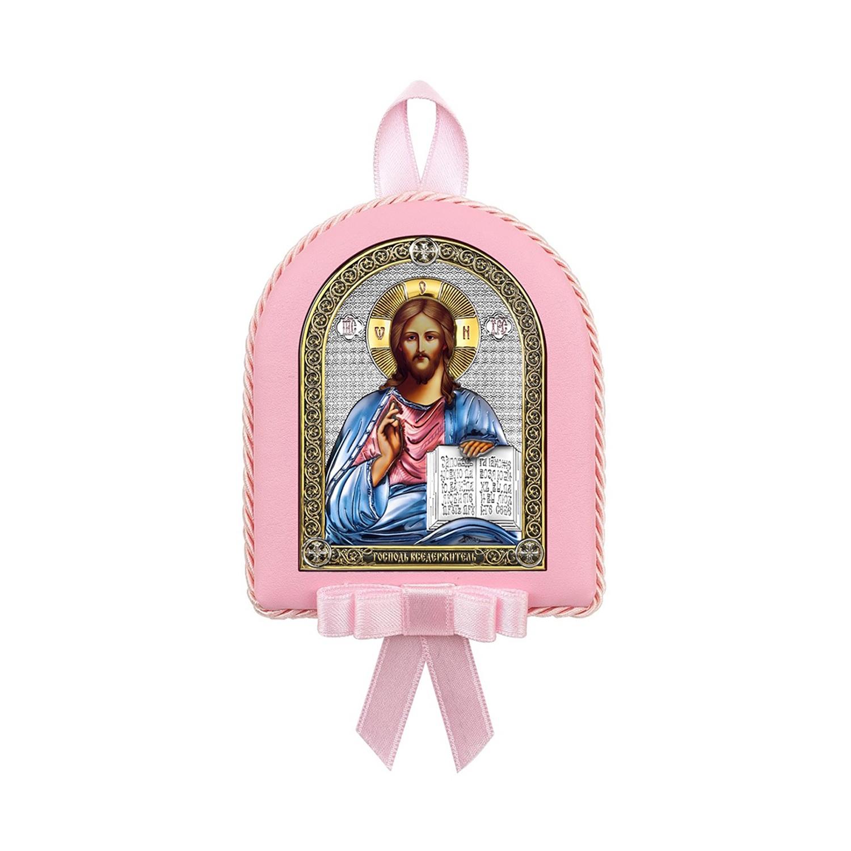 Икона АргентА Вседержитель 6393 CR, детская, розовый, 7,5 х 9,5 см иконы